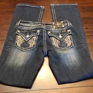 Miss Me jeans.  Embellished pockets.  Inseam 33